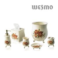Buy cheap WBC0452A Top - Grade Porcelain Bathroom Set with Peony Pattern , 6 Piece product