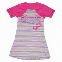 China Girls' Dress, Yarn-colored Article Rib Knitted Fabric 92% Cotton/8% Elastic, 100% Cotton Jersey on sale