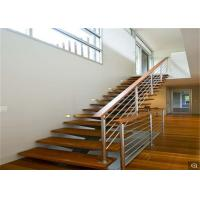 China Frameless Glass Railing Standoff Wood Step Indoor Floating Straight Staircase on sale