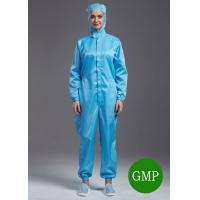 Quality Reuseable ESD antistatic coverall connect with hoods blue color unisex suitable for class1000 cleanroom for sale