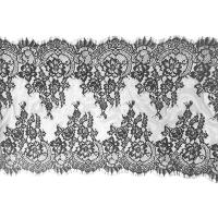 """Buy cheap Black Scalloped Vintage Floral Eyelash Lace Trim Bridal Lace Fabric Nylon 20"""" By from wholesalers"""