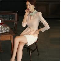 Buy Pink Diamond Pearl Collar Womens Suit Dress with Lace Skirt for girls at wholesale prices