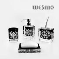 Quality Polyresin Bathroom Set with Soap Dispenser, Toothbrush Holder, Tumbler * 2PCS, Soap Dish for sale