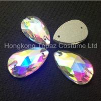 Quality Tear drop 11*18mm clear ab sew on crystals and beads for clothing for sale