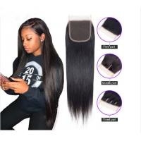 Quality Brazilian Straight 8 - 20 Inch Virgin Human Hair Extensions Closure 1B for sale