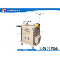 Buy Utility Hospital Medical Trolley Crash Cart Trolley With Four Plastic - Steel Columns , Dust Basket at wholesale prices