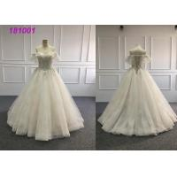China Long Detachable Simple Fashion Bridal Wear , Customized Gold Ball Gown Wedding Dress on sale