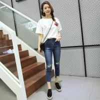 China Extremely Low Rise Womens Tapered Jeans Cotton Spandex Customized Color Fade Proof on sale