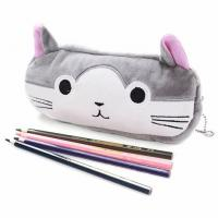 Quality New creative korean stationery import office and school supplies girls gift cute plush cat cartoon zipper pencil funny for sale
