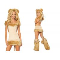 Quality Apricot Party Adult Costumes Courageous Lioness Costume Attached Tail for sale