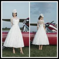 Quality White Vintage A Line Lace Short Brides Wedding Dresses With Sleeve for sale