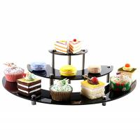 Quality Glossy Acrylic Tiered Display Stands , 3 Tier Semicircle Cupcake Dessert Stand for sale