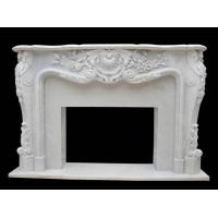 Quality White Marble Flower Carving Fireplace for sale