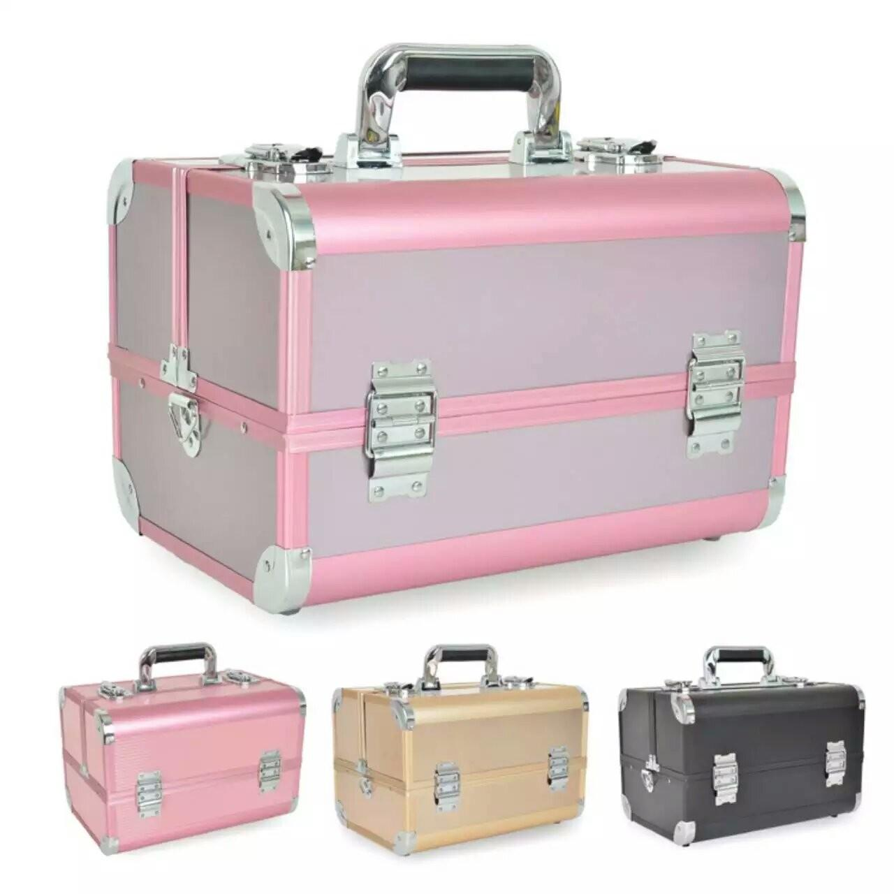 Quality Portable aluminum beauty case with shoulder strap, plastic trays inside aluminum makeup case to storage toiletry artist for sale