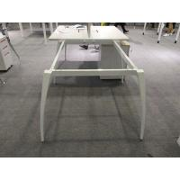China 4 person office table sound proofing screen middle leg and wire management on sale