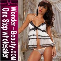 Buy cheap White & Black Ruffle Babydoll from wholesalers