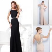 Quality Party Gowns Crystals Cap Sleeve Celebrities Evening Dresses Satin , 2014 Tarik Ediz for sale