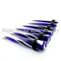 Quality Color Printed Stripe Ear Stretchers Tapers UV Acrylic For Engagement for sale