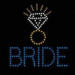 Bride design diamond over hot fix transfer motif