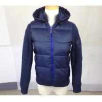 Quality Blue Casual Ladies Clothing , Warm Winter Jacket with Knitted Sleeve for sale