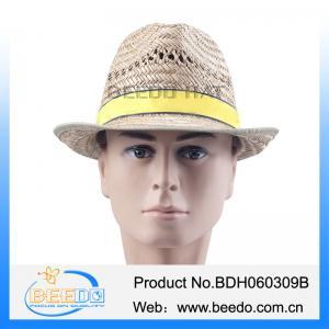 China Short brim fedora trilby hollow straw hat on sale
