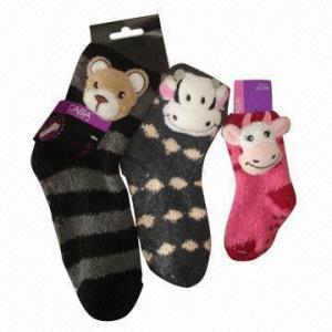 Quality Fashionable Anti-slip Feather Yarn Socks with Animal Head Design for sale