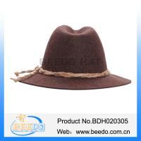 Quality German 100% wool felt hat bavarian hat with hemp rope for sale for sale