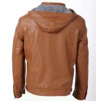 China Size 54 XXXL autumn / winter fashionable Mens Hooded PU Leather Jackets personalized on sale