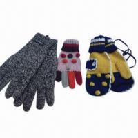 Quality Children's Knitted Gloves with Jacquard Weave, Made of 100% Acrylic for sale