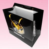 custom recycled paper shopping bags with gold hot stamping logo manufacturer