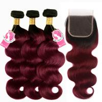 Quality Human Body Wave Ombre Hair Bundles With Closure 1B 99j Burgundy Color for sale