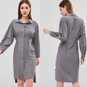 China Fall Clothing Womens Midi Double Slit Shirt Dress Long Sleeve on sale