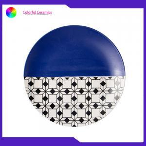 China 8 Inch Geometric Flat Custom Printed Dinner Plates Ceramic Tableware Eco Friendly on sale