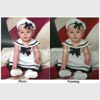 China Children Hand Painted Portraits From Photos / Realistic Portrait Painting on sale