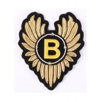 Quality Wings Shape Embroidered Emblems Gold Embroidered Letter Patches With Alphabet B for sale