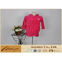 Quality 260Gram Solid coral fleece zip dressing gown for girls with hood 140 / 152 / 164 / 176 for sale