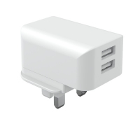 Quality 2 USB Port 5V2.4A RoHS UL Uk Travel Charger Fireproof PC for sale