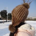 Quality Natural Mink Fur Knit Earflap Winter Sheepskin Hats Hat Pom Pom Striped Style for sale