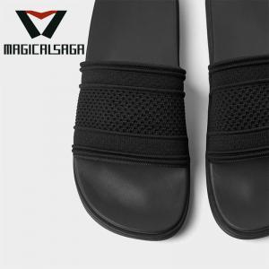 Quality Famous brand flyknit fabric material men slipper comfortable flip flops upper for sale