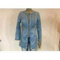 China Casual Style Ladies Suede Jackets , Studs Decorated Ladies Pu Leather Jackets on sale