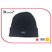 All Black Sports Knit Hats Customize Woven Lable And Polar Fleece Lining