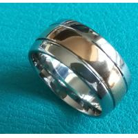 Quality 10mm Shiny Center Rose Gold Plating Grooves Dome Cobalt Chrome Wedding Band Ring for sale
