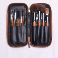 Quality Sandalwood Bamboo Handle Full Makeup Brush Set 9 Pieces Smooth Application for sale