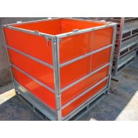 Quality Galvanised IBC Intermediate Bulk Container Foldable Pallet Container With Coated Orange PP Panel for sale