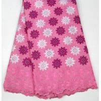 Quality Swiss Cotton Lace Fabric , Multi Colored Embroidered Floral Lace Fabric For Abayas for sale