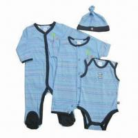Baby clothing set, consists of baby coverall, baby romper, baby diaper shirt and baby hat