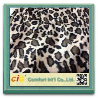 Quality Animal Printed Realistic Faux fur Fabric For Scarf Garment / Coat , Soft Long Pile Fake Fur Material for sale