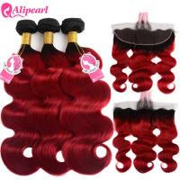 Quality Colored 1B/Red Ombre Hair Bundles With Closure Body Wave Dark Roots for sale
