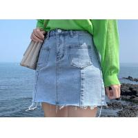 China 100% Cotton Ladies Denim Jeans Light Blue Wash With Patch Pocket And Raw Hem Finish on sale