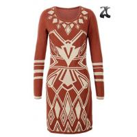 Quality Jacquard Pattern Ladies Sweater Dresses Scoop Neck Long Sleeve OEM Service for sale